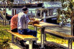 Fish n Chips at the Wharf (jatakaphoto) Tags: fishandchips elderly old couple retired lunch dinner tableandchairs picnictable snack waterview lake gippslandlakes paynesville esplanade wharf jetty boats oilpainting art painting