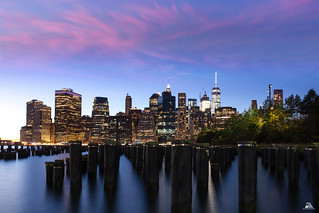 New York, Manhattan Skyline by Night