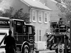 Where there's smoke... (pilechko) Tags: lambertville nj fireengine fire smoke blackandwhite monochrome street streetscene streetphotography