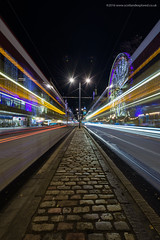 Tram Sandwich (Damon Finlay) Tags: nikon d750 nikond750 nikkor 1635mm f4 nikkor1635mmf4 edinburgh scotland lighttrails trams big wheel bigwheel nightphotography streetphotography street princesstreet colours movement