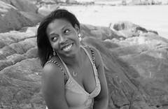 Miss A on the rocks (urban requiem) Tags: ebony black lady girl woman bw blackandwhite noiretblanc portrait plage beach rochers pretty lovely jolie femme pose sourire smile