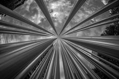 Atmospheric Whirlpool (*Capture the Moment*) Tags: 2016 architecture fischauge fisheye fotowalk munich münchen sonya7m2 sonya7mii sonya7mark2 sonya7ii stahl steel walimexpro monochrome schwarzweiss
