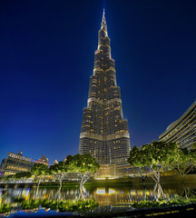 Rules don't apply .. (Almsaeed) Tags: blue burj khalifa dubai tallest downtown reflection hdr canon photography ًwide panorama colors lights trees outdoor moment rules dont apply