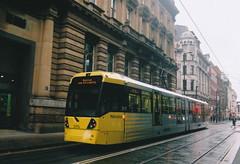 UK - Manchester tram (onewayticket) Tags: tram transport urban metrolink bombardier m5000 bombardierm5000 street city film zenit zenit12xp sirius sirius2828 canoscan9000f