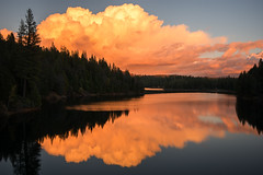 Skyfire (Middle aged Nikonite) Tags: sugar pine reservoir california lake sunset fire colors landscape outside water reflection trees clouds nikon d7200 outdoor sky dusk serene