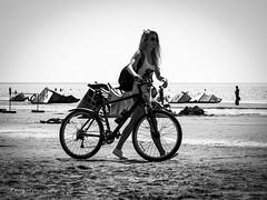 Vacationer (Kalev Lait photography) Tags: beach prnu prnurand woman girl bicyle summer