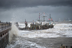 The Black Pearl  -  Stormy weather 2. (f22photographie) Tags: theblackpearnewbrighton newbrighton wirral merseyside ships seascape pirateship driftwood art artwork waves weather stormyweather water hightide rivermersey leicase