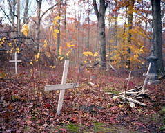 (.tom troutman.) Tags: mamiya 7 film analog 120 6x7 mediumformat 80mm fuji pro 160 abandoned graveyard nj fall autumn