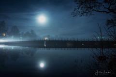 MoonBridge (Fredrik Lindedal) Tags: moon moonlight reflection reflections bridge clouds stars trees tree tripod light landscape lake calmness silence nature nightfall night fredriklindedal