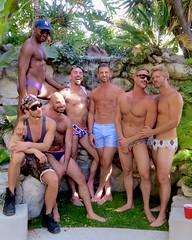 IMG_0233 (danimaniacs) Tags: party shirtless man guy hot sexy hunk bathingsuit trunks speedo bulge smile beard scruff hairy hat cap