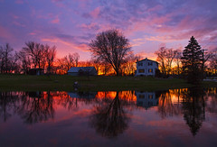 Neighborhood Reflections (Matt Champlin) Tags: sunset home skaneateles elbridge canon 2016 reflection life nature pond house fall autumn warmth warm inviting refle colorful november fire incredible peace peaceful quiet calm calming