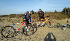MTB on the beach 3 different animals (Riemanello) Tags: trip copenhagen denmark biking mtb swift ritchey voodoo 29er singular p29er
