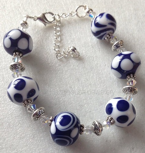 Blue and white bracelet