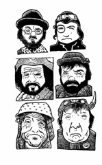 Time Bandits (ink) (Don Moyer) Tags: moleskine face ink notebook grid sketch moyer brushpen timebandits donmoyer