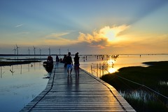 Enjoy Sunset @Kaomei Wetland @ (Vincent_Ting) Tags: sunset sky water windmill silhouette clouds taiwan  formosa   windturbine wetland