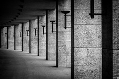 Reprise (Holyhoehle) Tags: blackandwhite bw berlin stone blackwhite stadium olympia stadion pillars repetitive
