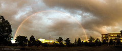 Sunset Rainbow panorama (alohadave) Tags: sky panorama effects quincy rainbow unitedstates massachusetts places rainy northamerica iphone partlycloudy crowncolony iphone5