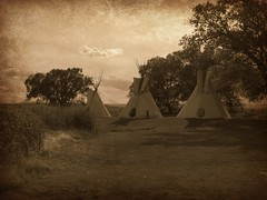 In the days before (jimsawthat) Tags: sepia colorado nativeamerican enhanced teepees montrosecolorado uteindianmuseum