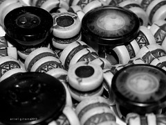 curious case of beads and button (ariel gitana) Tags: camera portrait blackandwhite bw macro monochrome lines digital flash philippines pinay pinoy pinas amateurphotographer bridgecamera taguigcity kodakero teampinas nikoncoolpixp100