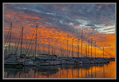 Sunset over Scarborough Marina 19th June-09=