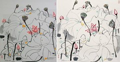 Two Expressionistic Red Lotus Paintings by Wu Guanzhong dated 1990 兩幅吳冠中1990年作表現主義的紅荷花圖
