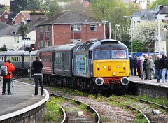 DRS class 47853 enters Paignton station with the stock for the return leg of Compass Tours 'The Devonian' from Paignton to Southport to 23rd April 2014  (steamdriver12) Tags: heritage riviera diesel railway trains class devon april 23 tours compass services direct paignton the 2014 devonian drs 47853