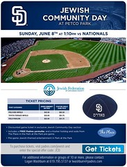 Come celebrate Jewish culture and community at Petco Park with a special discount ticket offer. - Includes a FREE San Diego Padres yarmulke, a Kosher hot dog and soda from The Place in the Park at the Park pre-game. - Exclusive pre-game social event featu (JewishInSanDiego) Tags: from park dog hot code discount community san with place please culture free diego ticket social special offer event entertainment padres link come jewish below click soda kosher enter celebrate exclusive yarmulke petco includes pregame featuring the jcd jewishthemed httpsandiegopadresmlbcomsdticketinggroupsjcdjsp
