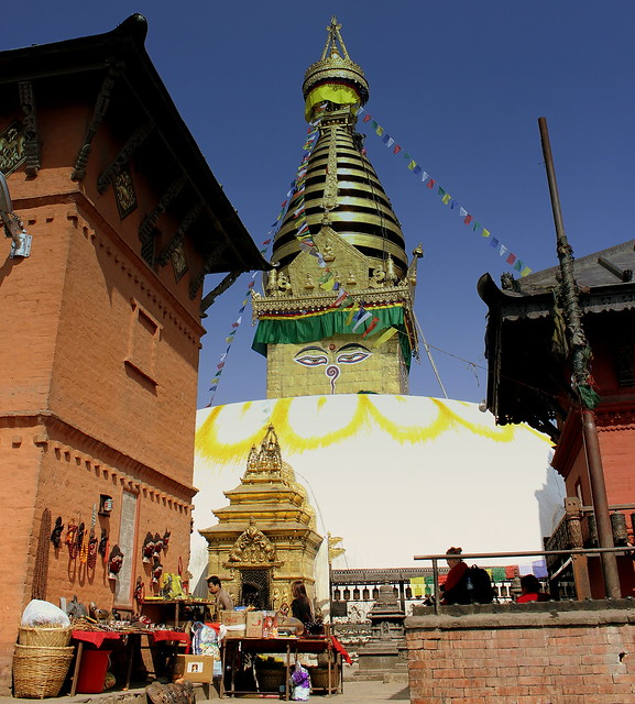 SWAYAMBHU THE MONKEY TEMPLE KATMANDU NEPAL DURING HAPPIER TIMES FEB 2013