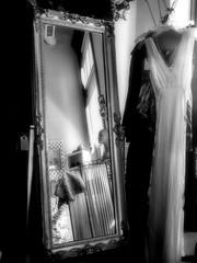 Mirror/ Dresses (JourneysEnd1750) Tags: blackandwhite film canon mirror illinois 35mmfilm antiques ilford ilfordfp4plus galesburg canoneosrebelxs thedarkroomcom galesburgantiquemall