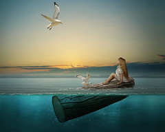 All at sea (neil rushby photography) Tags: photoshop photo manipulation creative artistic young girl wood log afloat birds water sea
