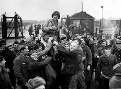 #Jubilant Soviet prisoners of war hoist an American soldier of the Ninth United States Army into the air after they are liberated from German captivity at their POW camp. Eselheide, North Rhine-Westphalia, Germany. 9 April 1945. [1280 x 945] #history #ret (Histolines) Tags: histolines history timeline retro vinatage jubilant soviet prisoners war hoist an american soldier ninth united states army air after they liberated from german captivity their pow camp eselheide north rhinewestphalia germany 9 april 1945 1280 x 945 vintage dh historyporn httpifttt2f1xcrr