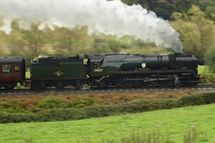 Bulleid Bluuuuuur. (gooey_lewy) Tags: 34027 taw valley bulleid west country class pacific 462 rebuilt british railways br southern rail train steam engine loco locomotive tender severn railway svr martin creese charter photographic motion blur speed