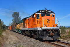 Well-traveled B23-7 (Moffat Road) Tags: albanyandeastern aerc ge b237 rickfranklincorporation rfrx 4201 logtrain lacombdrive lebanon crabtree oregon train railroad locomotive or