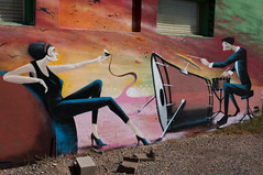 Jazzy Wine, Rats, and a Scuba Diver (SDRPhoto321) Tags: art blue canon color dark eos expression festival great house inspiring inspire light line mighty new neck jazz outdoor outside mural phoenix city urban arizona music drums wine wall painting cup rat