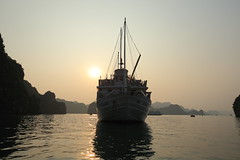Sunset in Halong Bay, Vietnam. (Go Go Janet) Tags: cruise ship unesco