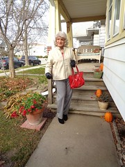 Remnants Of The Fall (Laurette Victoria) Tags: porch milwaukee pamts jacket gloves purse woman laurette