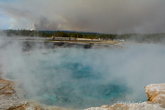 Midway Geyser Basin (RootsRunDeep) Tags: minerals yellowstone nature landscape fire middlegeyserbasin hot pool color steam wyoming people tourist smoke