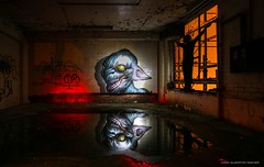 'Loyal To The Nightmare Of My Choice' (Explored, thanks!) (john&mairi) Tags: graydunncobiscuitfactory derelict dereliction abandoned urbex nighttime grafitti figure scarecrow lightpainting puddle reflection silhouette