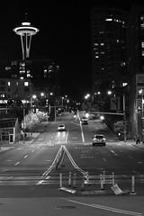 Seattle (miketsukerman1) Tags: street downtown travel light car urban architecture road monochrome vehicle seattle transportationsystem