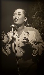 Portrait of jazz singer-songwriter Billie Holiday by Herman Leonard. (ca. 1948) (lhboudreau) Tags: jazz inthegroove portrait nationalportraitgallery gallery smithsonian smithsoniannationalportraitgallery smithsoniansnationalportraitgallery billieholiday eleanorafagan elinoreharris singer songwriter ladysingstheblues jazzsinger entertainer vocalist jazzvocalist africanamerican negro substanceabuse addiction drug hermanleonard 1948 people monochrome indoor musician performer blues