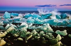 Evening, Jokulsarlon, Iceland (klauslang99) Tags: nature naturalworld klauslang photography iceland ice atlantic ocean europe jakulsarlon spray evening