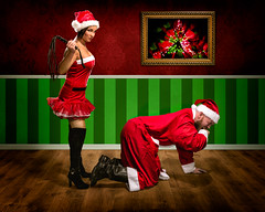 Meanwhile in Santa's Office (Tortured Mind) Tags: 2470mmf28 54 hemppukoo jakematti kuopio suomi bad bearded christmas creative d800 dslr fi homestudio humour nikkor nikon photoshop red santa woman xmas zoom