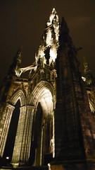 Scott Monument, Princess St,  Edinburgh     October 13 2016 (dave_attrill) Tags: scott monument sir walter edinburgh princes st scotland high night time lit up cobbled street october 2016