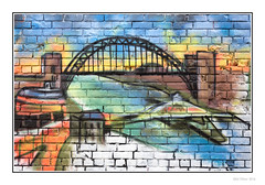 Tyne Impressions (Seven_Wishes) Tags: newcastleupontynenortheast canoneos5dmark3 canonef24105mm photoborder kc wall wallart graffiti streetart artistic lowryesque lowry tynebridge rivertyne swingbridge painting bricks brickwall vibrant newcastleupontyne tyneandwear uk 2013 views2k