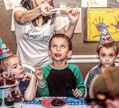 """Answered Prayer"" A ""lost"" Norman Rockwell? (papanaron) Tags: boys cake birthday family hdr funny fun normanrockwell"