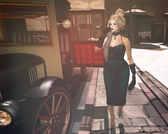 - Look 705 - Monroe (aisha.cahir  {Blogger}) Tags: secondlife free escalatedhair vintage petitemort dress frozzenfair estola maitreya belleza slink moderncouture colar blackrose gloves anachron cigarrilha