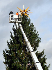 Christmas is Nearing (gps1941) Tags: xmas tree fir decoration lift workers weihnachten nahrt baum tanne