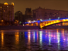 Russia. Moscow. Smolensky Metro Bridge. (Yuri Degtyarev) Tags: russia moscow smolensky metro bridge embankment russian federation river reflections   panasonic pannyleica leica lumix dmcg3 g3 dg summilux 25mm f14 moskau stadt moscou   dmc lens    night 14 micro 43 fourthirds four thirds panaleica prime hx025e ft cityscape outdoor       stalinist skyscraper skysrapers seven sisters     water city ngc