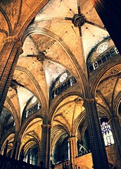 Stone Soars (britt.winski) Tags: vault arch architecture church cathedral spain barcelona medieval column columns pillar pillars stained glass stainedglass ceiling ceilingrose gothic stonework