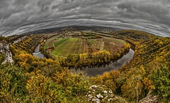 Vue sur la valle du Lot - View of the Lot Valley (Sbastien Vermande) Tags: canon7d france midipyrnes winter hiver lot aveyron fisheye valle valley panorama paysage landscape rivire river nuages clouds falaises arbres trees enchantment retouche traitement treatment hdr samyang8mm vermande